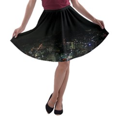 SEOUL NIGHT LIGHTS A-line Skater Skirt