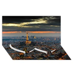 PARIS FROM ABOVE Twin Heart Bottom 3D Greeting Card (8x4)