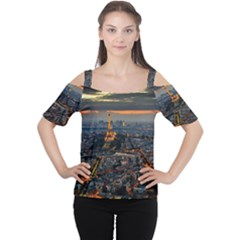 PARIS FROM ABOVE Women s Cutout Shoulder Tee