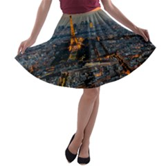 Paris From Above A Line Skater Skirt