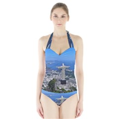 Christ On Corcovado Women s Halter One Piece Swimsuit