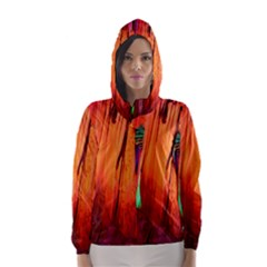 REED FLUTE CAVES 4 Hooded Wind Breaker (Women)