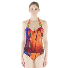 REED FLUTE CAVES 4 Women s Halter One Piece Swimsuit