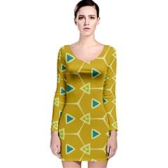 Connected triangles Long Sleeve Velvet Bodycon Dress