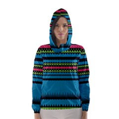 Chevrons And Triangles Hooded Wind Breaker (women)