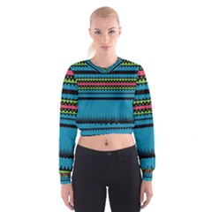 Chevrons and triangles   Women s Cropped Sweatshirt