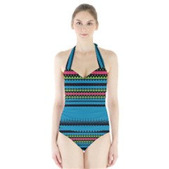 Chevrons and triangles Women s Halter One Piece Swimsuit