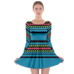 Chevrons And Triangles Long Sleeve Skater Dress