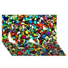 Colorful Stones, Nature Twin Hearts 3d Greeting Card (8x4)