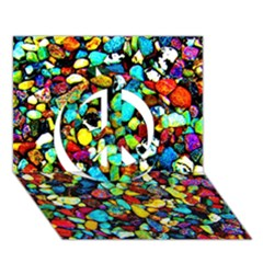 Colorful Stones, Nature Peace Sign 3D Greeting Card (7x5)