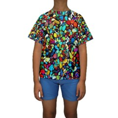 Colorful Stones, Nature Kid s Short Sleeve Swimwear