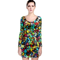 Colorful Stones, Nature Long Sleeve Bodycon Dresses