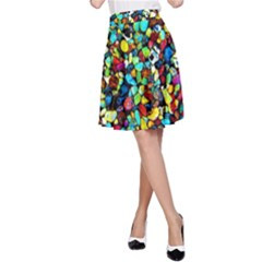 Colorful Stones, Nature A Line Skirt