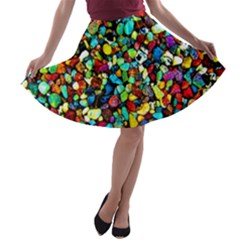 Colorful Stones, Nature A-line Skater Skirt
