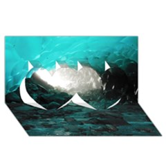 MENDENHALL ICE CAVES 2 Twin Hearts 3D Greeting Card (8x4)