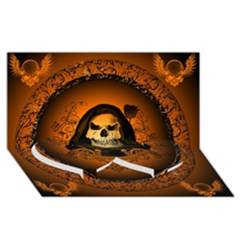 Awsome Skull With Roses And Floral Elements Twin Heart Bottom 3D Greeting Card (8x4)