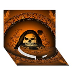 Awsome Skull With Roses And Floral Elements Circle Bottom 3D Greeting Card (7x5)