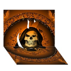 Awsome Skull With Roses And Floral Elements Apple 3d Greeting Card (7x5)