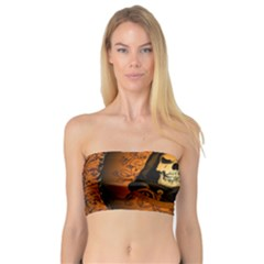 Awsome Skull With Roses And Floral Elements Women s Bandeau Tops