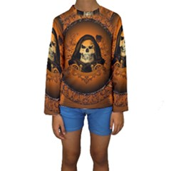 Awsome Skull With Roses And Floral Elements Kid s Long Sleeve Swimwear