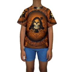 Awsome Skull With Roses And Floral Elements Kid s Short Sleeve Swimwear