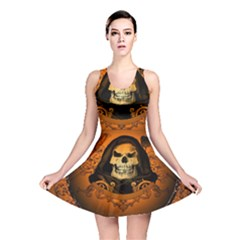 Awsome Skull With Roses And Floral Elements Reversible Skater Dresses