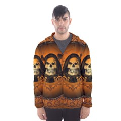 Awsome Skull With Roses And Floral Elements Hooded Wind Breaker (Men)
