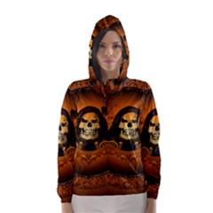 Awsome Skull With Roses And Floral Elements Hooded Wind Breaker (Women)