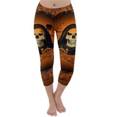 Awsome Skull With Roses And Floral Elements Capri Winter Leggings