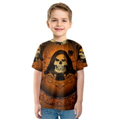Awsome Skull With Roses And Floral Elements Kid s Sport Mesh Tees