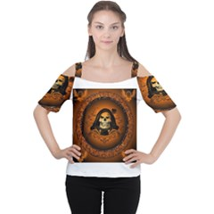 Awsome Skull With Roses And Floral Elements Women s Cutout Shoulder Tee