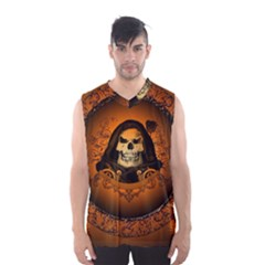 Awsome Skull With Roses And Floral Elements Men s Basketball Tank Top