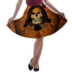 Awsome Skull With Roses And Floral Elements A-line Skater Skirt