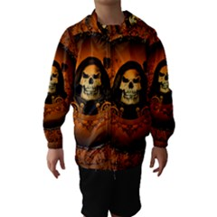 Awsome Skull With Roses And Floral Elements Hooded Wind Breaker (Kids)
