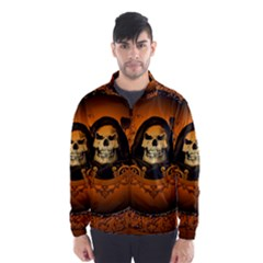 Awsome Skull With Roses And Floral Elements Wind Breaker (Men)