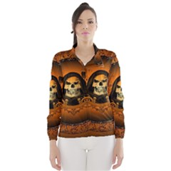 Awsome Skull With Roses And Floral Elements Wind Breaker (Women)