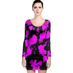 PINK CAMOUFLAGE Long Sleeve Bodycon Dresses