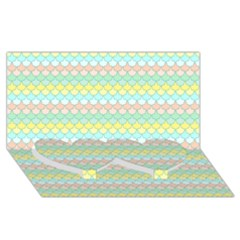 Scallop Repeat Pattern In Miami Pastel Aqua, Pink, Mint And Lemon Twin Heart Bottom 3d Greeting Card (8x4)