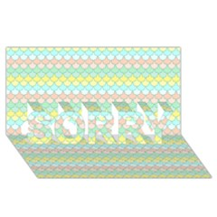 Scallop Repeat Pattern in Miami Pastel Aqua, Pink, Mint and Lemon SORRY 3D Greeting Card (8x4)
