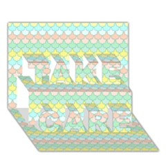 Scallop Repeat Pattern In Miami Pastel Aqua, Pink, Mint And Lemon Take Care 3d Greeting Card (7x5)
