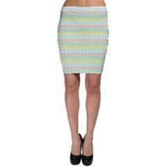 Scallop Repeat Pattern In Miami Pastel Aqua, Pink, Mint And Lemon Bodycon Skirts