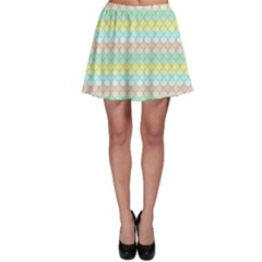 Scallop Repeat Pattern In Miami Pastel Aqua, Pink, Mint And Lemon Skater Skirts