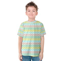 Scallop Repeat Pattern In Miami Pastel Aqua, Pink, Mint And Lemon Kid s Cotton Tee