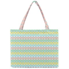 Scallop Repeat Pattern In Miami Pastel Aqua, Pink, Mint And Lemon Tiny Tote Bags