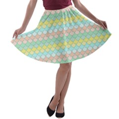 Scallop Repeat Pattern in Miami Pastel Aqua, Pink, Mint and Lemon A-line Skater Skirt