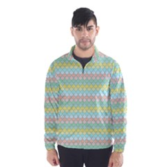 Scallop Repeat Pattern in Miami Pastel Aqua, Pink, Mint and Lemon Wind Breaker (Men)