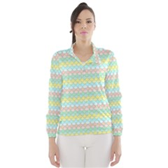 Scallop Repeat Pattern In Miami Pastel Aqua, Pink, Mint And Lemon Wind Breaker (women)