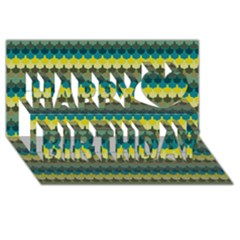 Scallop Pattern Repeat in  New York  Teal, Mustard, Grey and Moss Happy Birthday 3D Greeting Card (8x4)