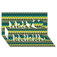 Scallop Pattern Repeat in  New York  Teal, Mustard, Grey and Moss Best Friends 3D Greeting Card (8x4)