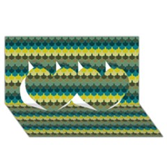 Scallop Pattern Repeat in  New York  Teal, Mustard, Grey and Moss Twin Hearts 3D Greeting Card (8x4)